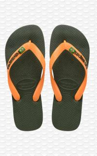 HAVAIANAS - BRASIL LOGO GREEN OLIVE-VIBRANT ORANGE I25